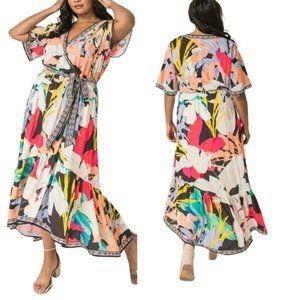 Dress Summer Print Hi-Low Midi Dress 1X